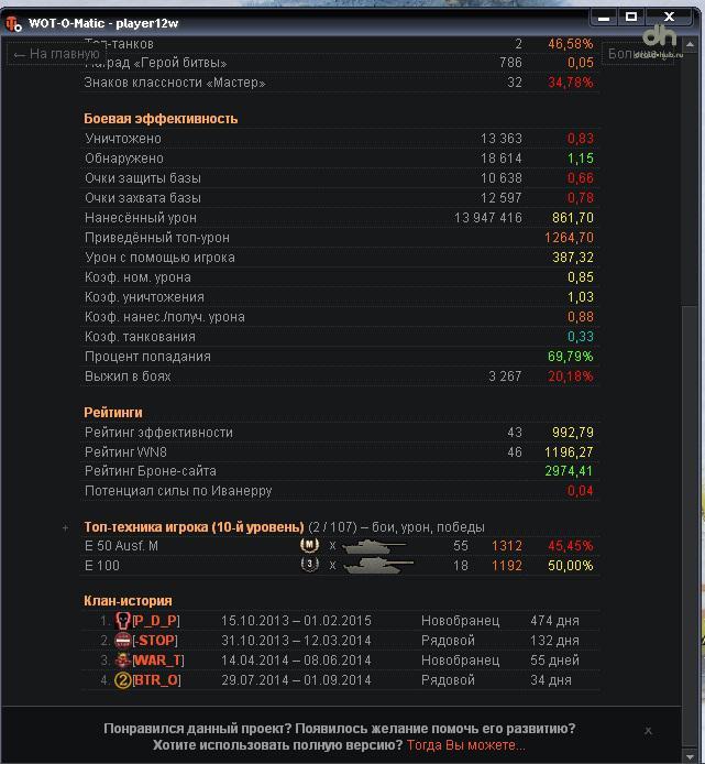 Wot o Matic – обширная статистика игрока для WoT 1.6.1.1